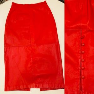 Vintage Red Hot Leather Fitted Skirt